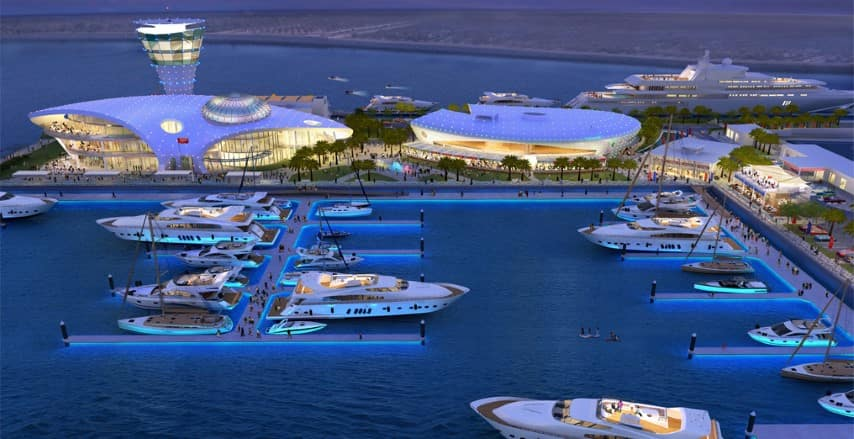 Boats-docked-in-Yas-Island-Abu-Dhabi